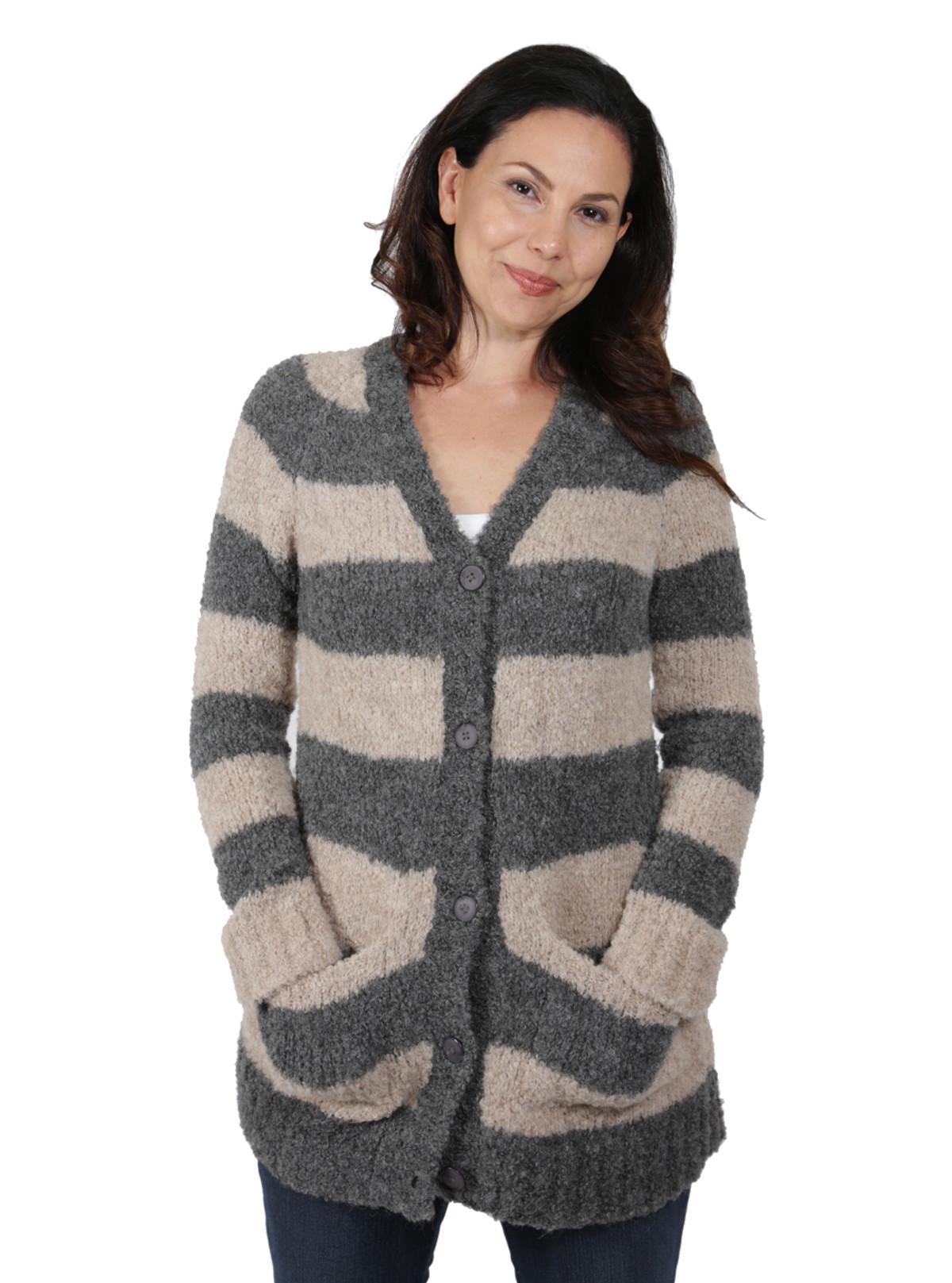 Women's Long Striped Cardigan in Baby Alpaca Boucle Yarn - Soft ...