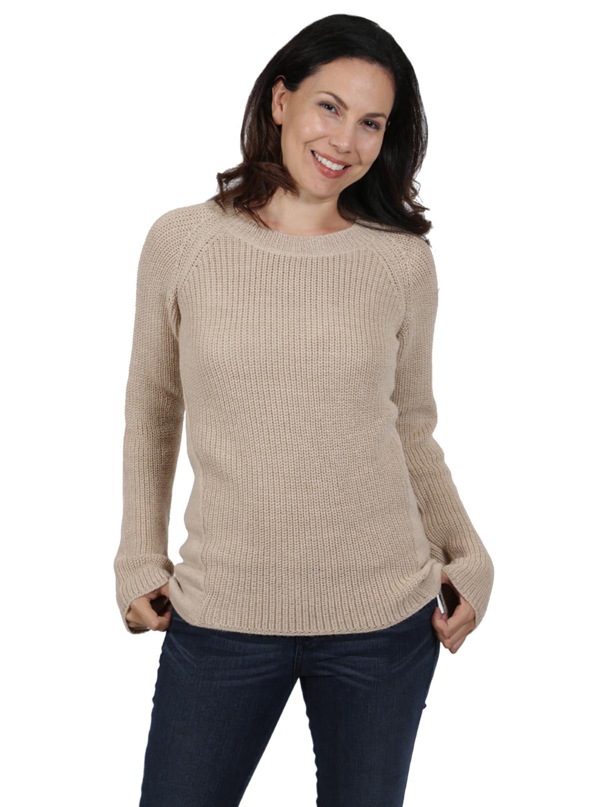 Women's Alpaca Sweaters - Melody Pullover Pattern-Blocked Sweater ...