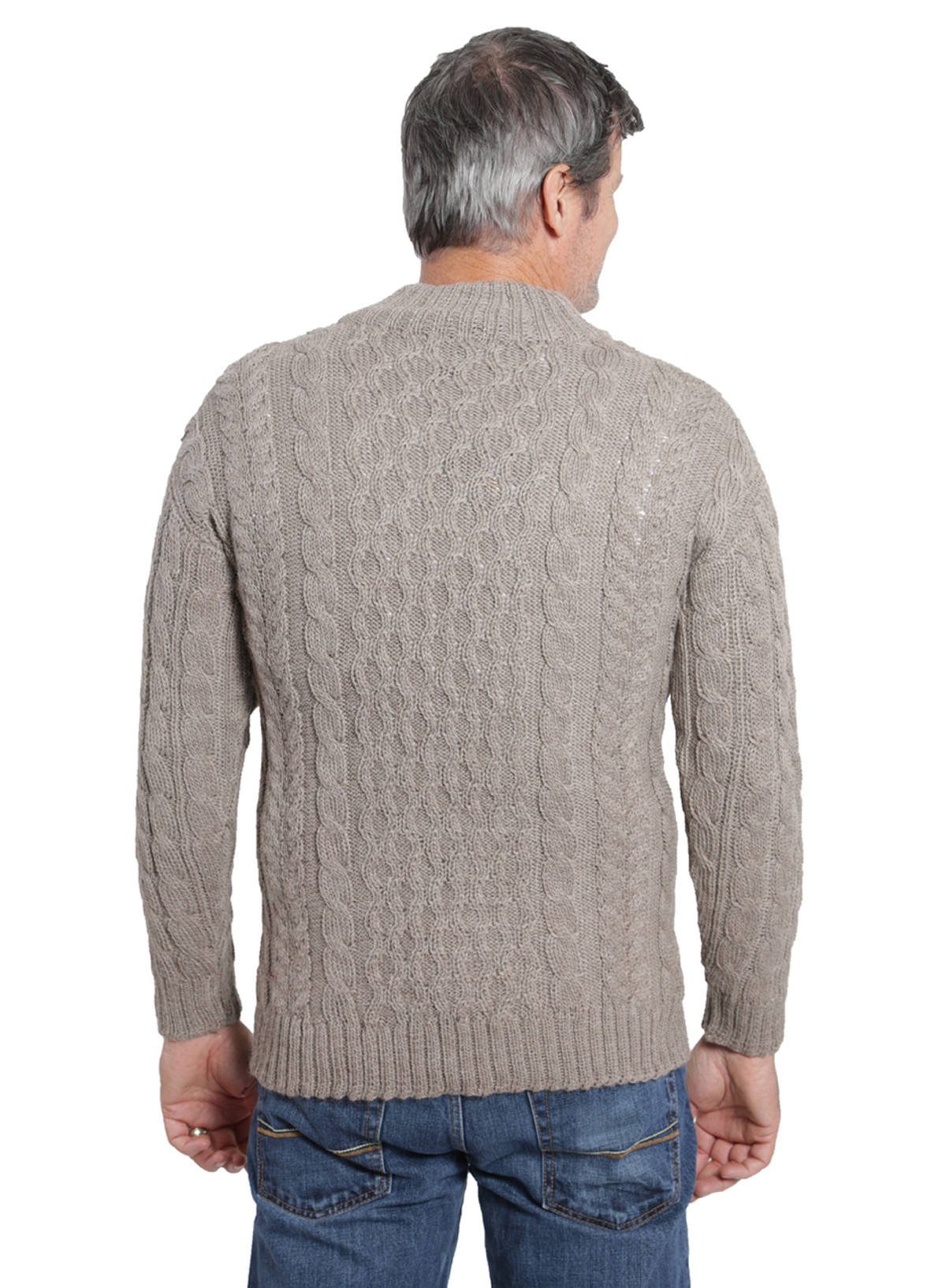 Men's Cable 3-Button Neck Pullover Alpaca Sweater | Sun Valley ...