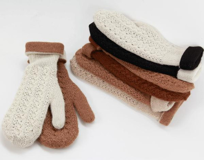 Reversible Hand Knit Alpaca Mittens