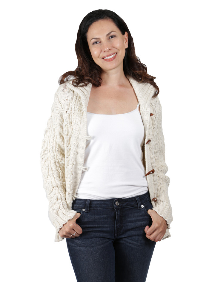 Traditional Aran Cardigan Front