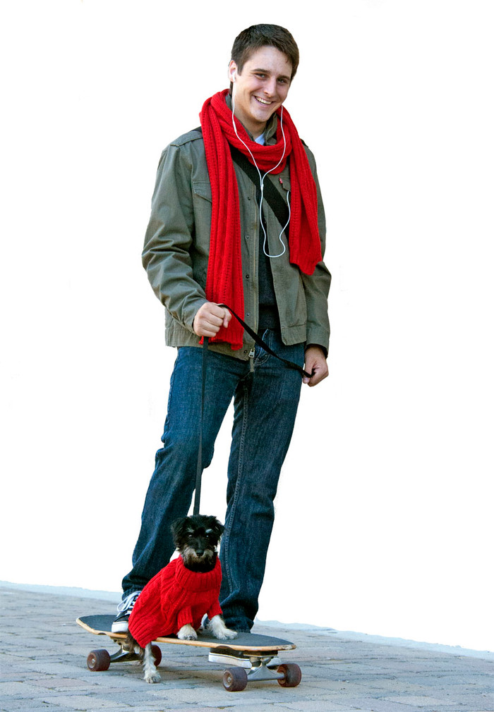 Cable Turtle Neck Dog Sweater & Oversized Scarf Set