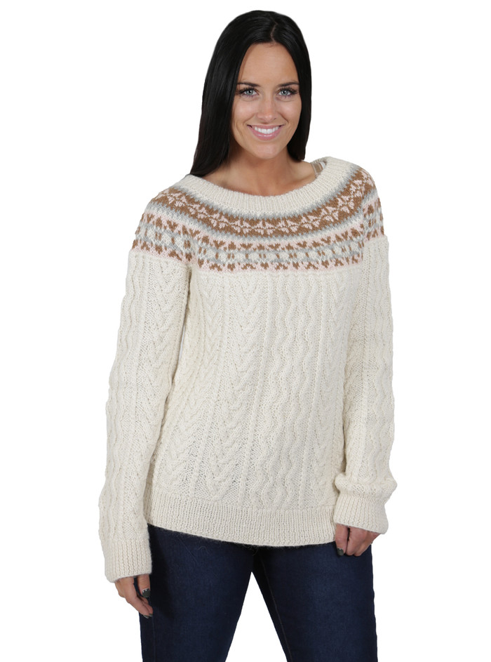 Fair Isle Fisherman Alpaca Sweater - Hand made