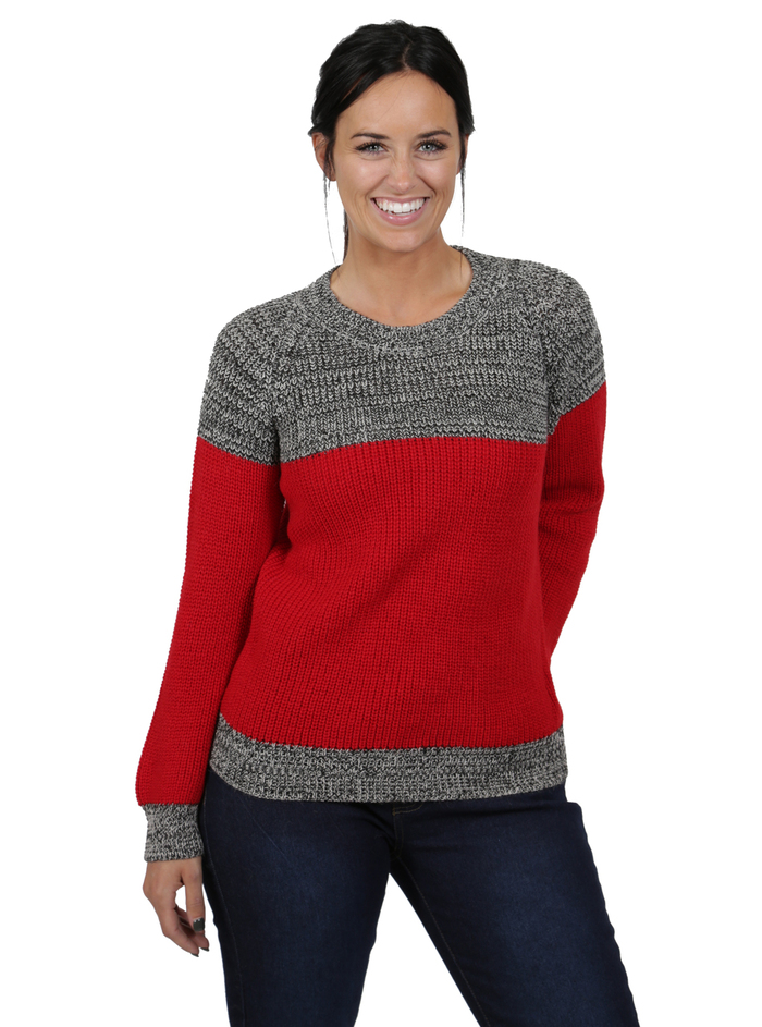 Scarlet Color Block Crew Pullover Sweater