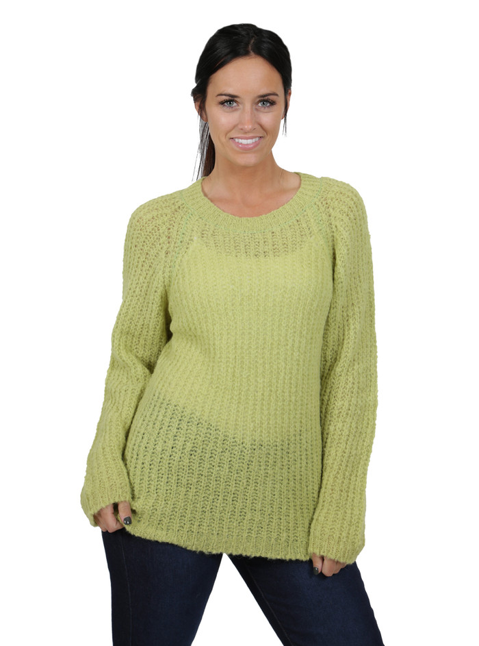 Alpaca Sweater - Cotton Candy Pullover Sweater  Greenery Front