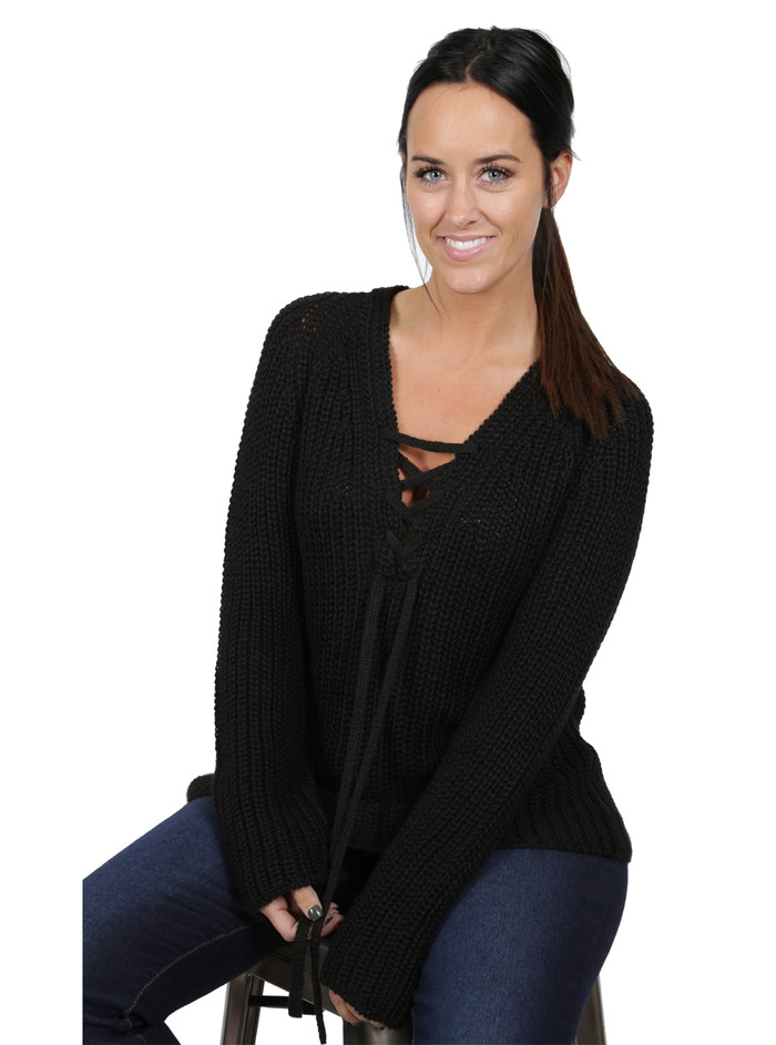 Baby Alpaca Two-Way Lace-Up Tunic Sweater