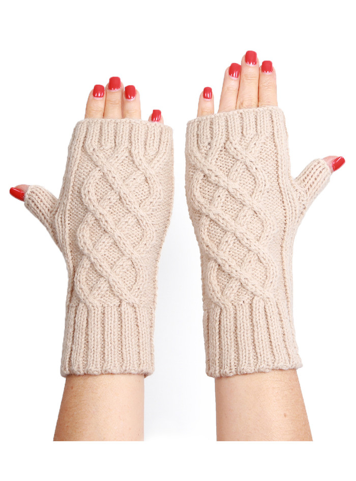 Cable Knit Fingerless Gloves / Mittens
