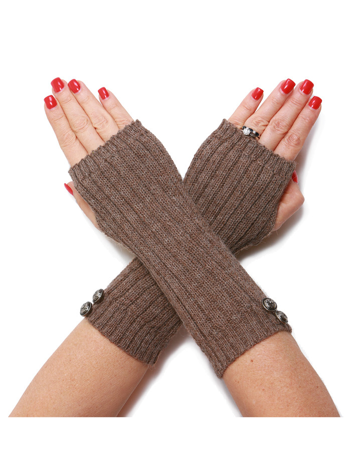 Ribbed Fingerless Gloves with Buttons