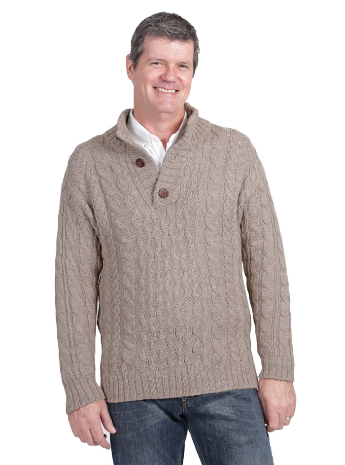 Cable 3-Button Neck Pullover