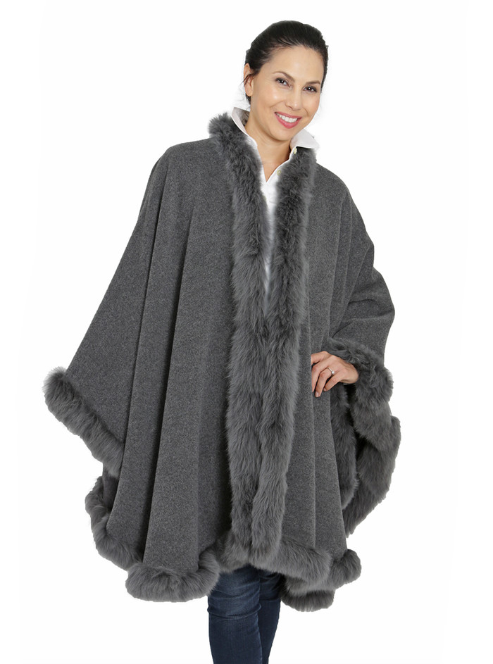 Baby Alpaca Fur Cape Cinder Gray - Front Thumbnail