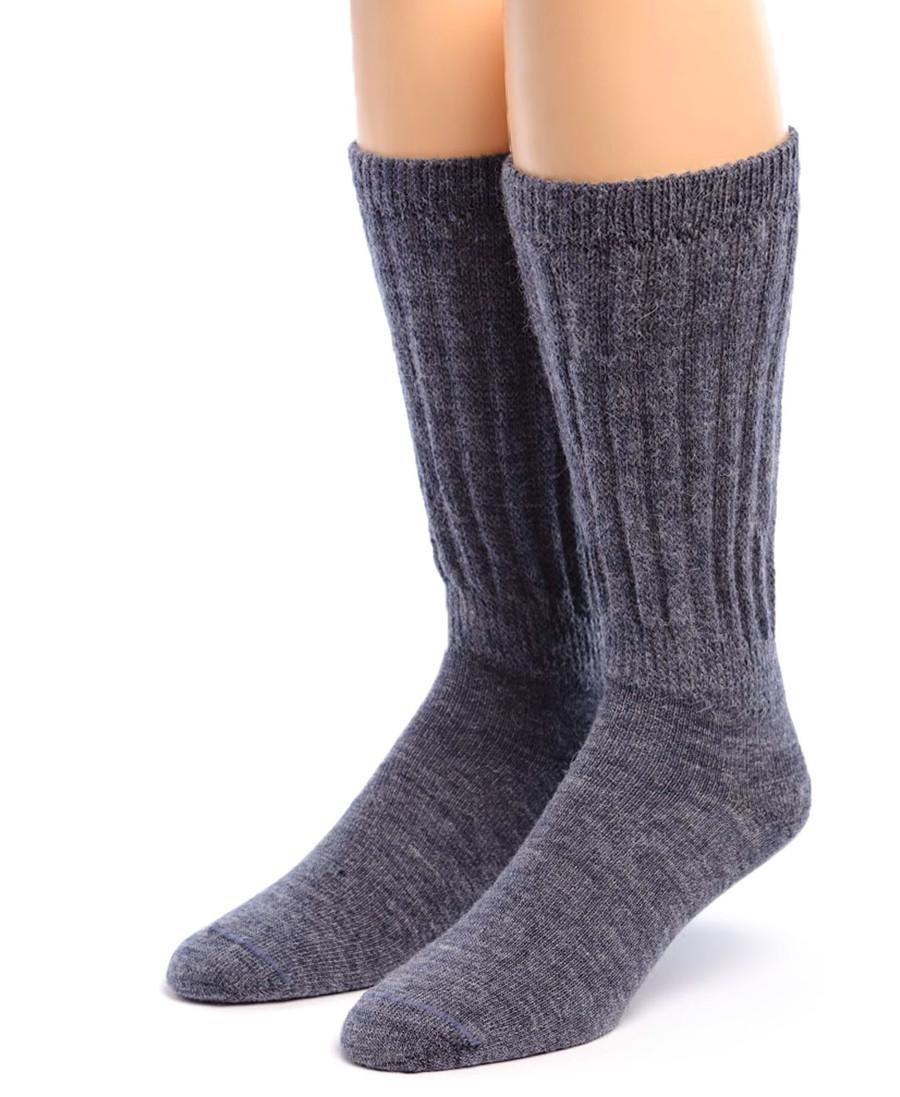 Therapeutic Alpaca Socks Front Denim