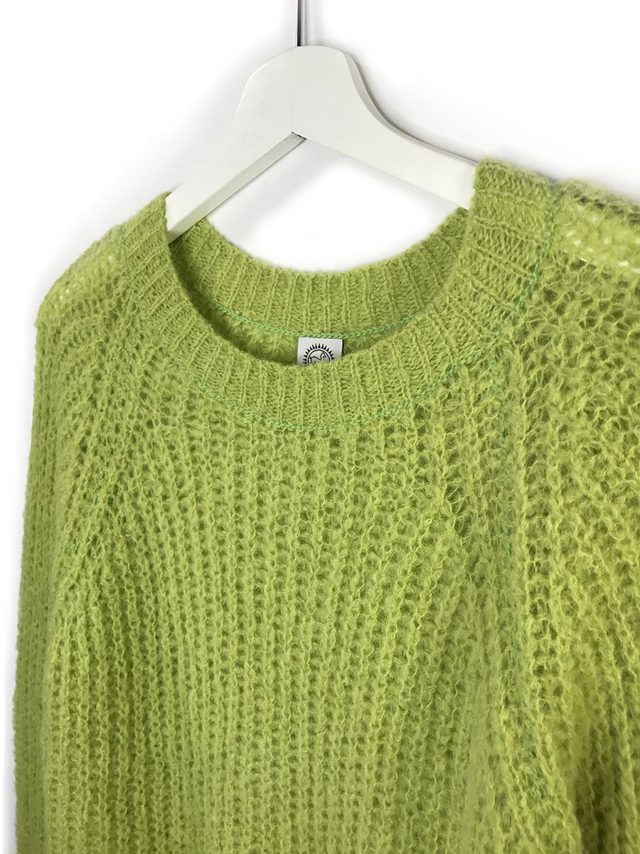 Alpaca Sweater - Cotton Candy Pullover Sweater  Greenery Close Hanging