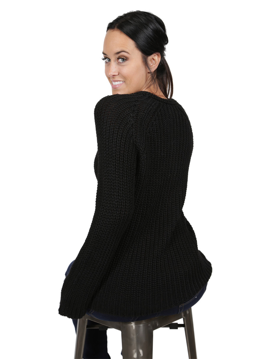 Baby Alpaca Lace-up Pullover Back