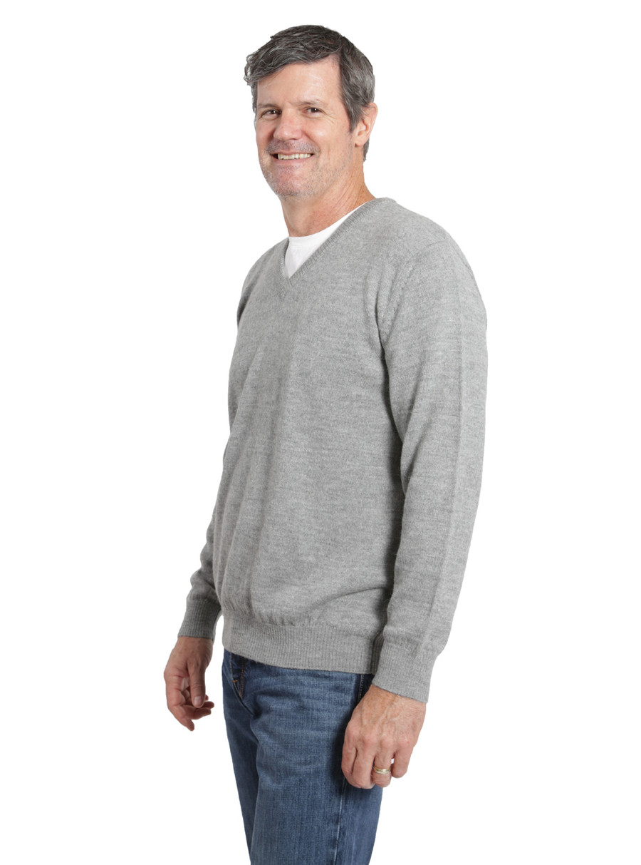 Hailey Alpaca V-Neck Pullover Men's Sweater Side