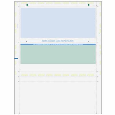 Z-Fold, Green Check w/ Blue Remit, 8 1/2 x 11