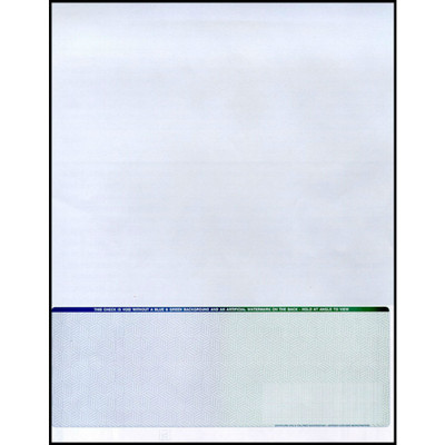 """Blue to Green, 23 Security Features, Single Perforation: 7 1/2"""" From the Top of Check"""