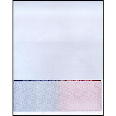 """Blue to Burgundy, 23 Security Features, Single Perforation: 7 1/2"""" From the Top of Check"""