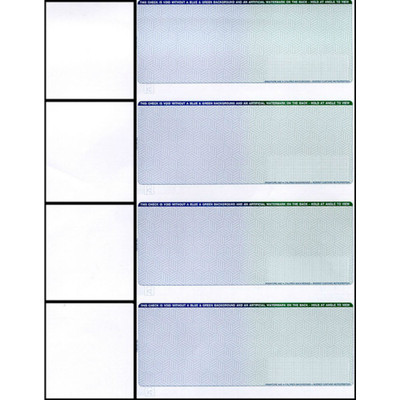 Checks, 4 per Sheet, Blue to Green, 5 Security Features