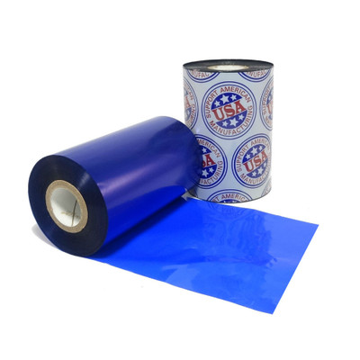 """Wax Ribbon: 3.00"""" x 1,181' (76.2mm x 360m), Ink on Inside, Blue, $16.50 per roll"""