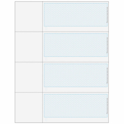 "Checks, 4 per Sheet, 3 Perforations: 2 ¾"", 5 ½"" and 8 ¼"" From Top of Check, Blue, 5 Security Features"