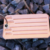 Leather information luggage tag, made in America by American Bench Craft in Reading MA