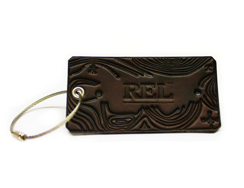 Custom Initials Explorer Luggage Tag, topographic map embossed, full grain leather American made by American Bench Craft in Boston MA