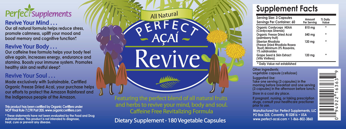 Full label view including supplement facts, ingredients, and suggested use for Perfect Acai Revive.