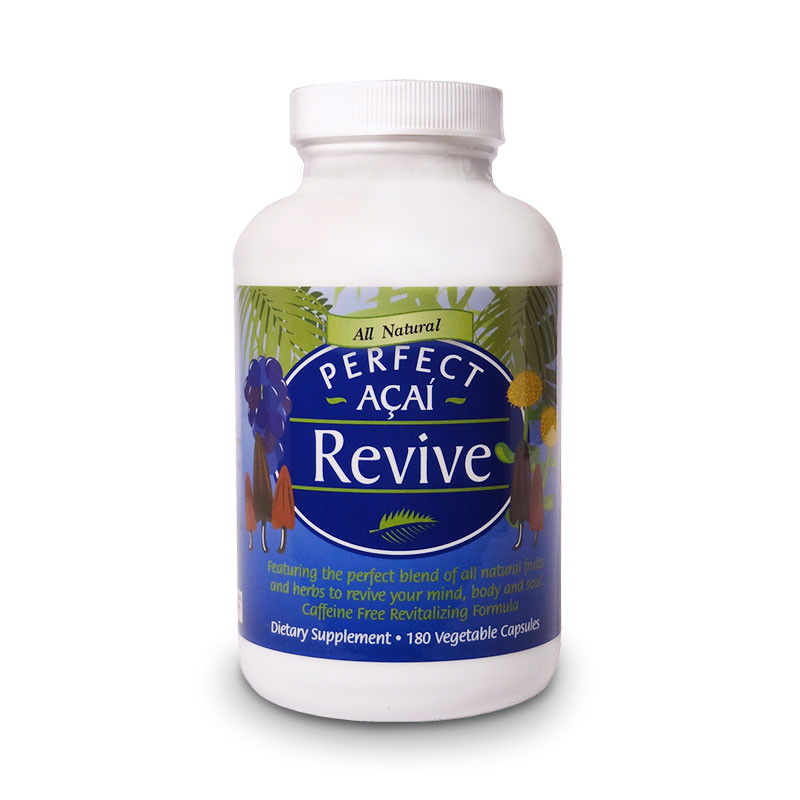 Front view of a bottle of Perfect Acai Revive capsules with fruits and herbs for energy from Perfect Supplements.