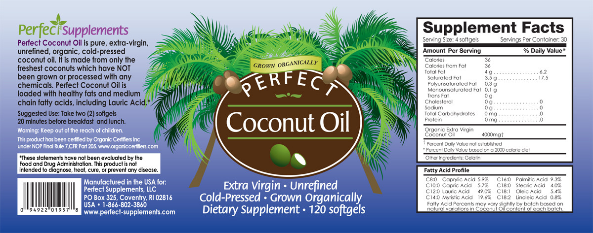 Full label view including supplement facts, ingredients, and suggested use for Perfect Coconut Oil from Perfect Supplements.