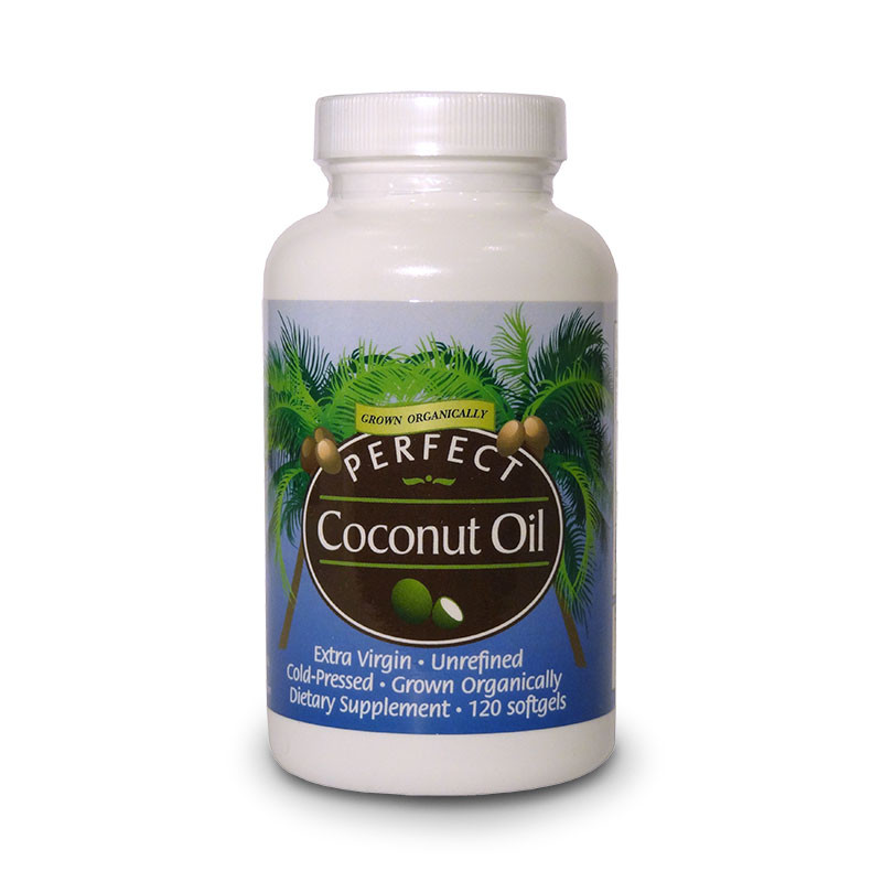 Front  view of a bottle of organic Perfect Coconut Oil Extra Virgin, Unrefined, Cold-pressed, soft gels from Perfect Supplements.