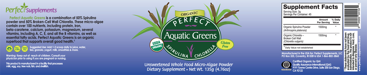 Full label view including supplements facts, ingredients, and suggested use for Perfect Aquatic Greens from Perfect Supplements.
