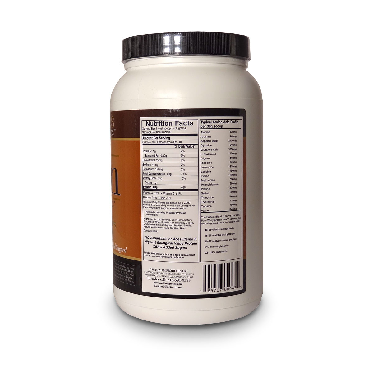 Label view including nutrition facts &  ingredients for Tony O'Donnell's Pure Whey Plus Double Dutch Chocolate Protein from G.W. Health Products.