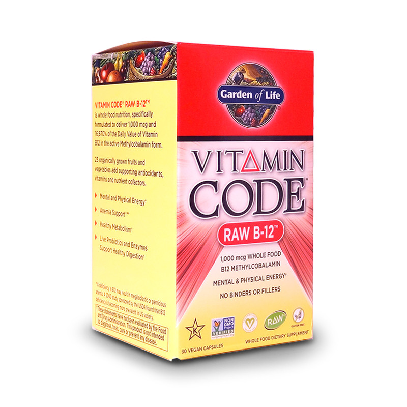 Front view of a bottle of Code Raw B-12   vegan capsules from Garden of Life.