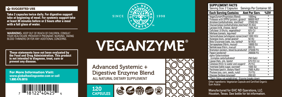 Full label including suggested use, supplement facts and ingredients for GHC Global Healing Center VeganZyme
