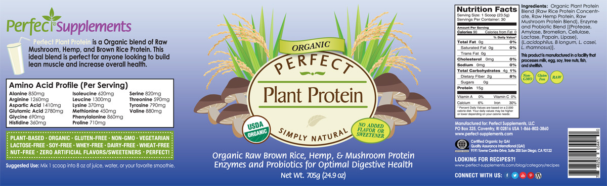 Full label view including supplement facts, ingredients, and suggested use for Perfect Plant Protein from  Perfect Supplements.