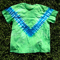 Front view of  Men's Organic Cotton Tie Dye T-shirt- V Pattern