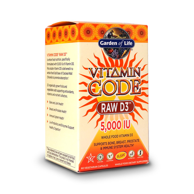 Frontal view for a bottle of Vitamin Code Raw D3 (5,000 IU)  from Garden of Life.