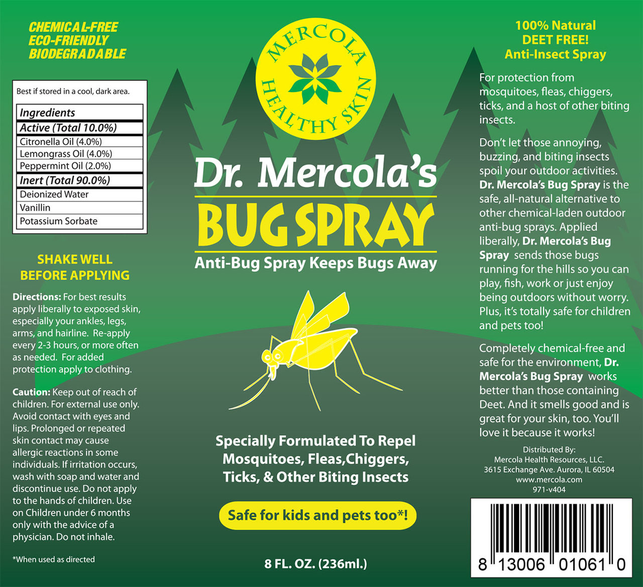 View of full label for Dr. Mercola's Bug Spray including ingredients.