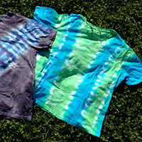 Men's Organic Cotton Tie Dye T-Shirt - Thick Vertical Stripes