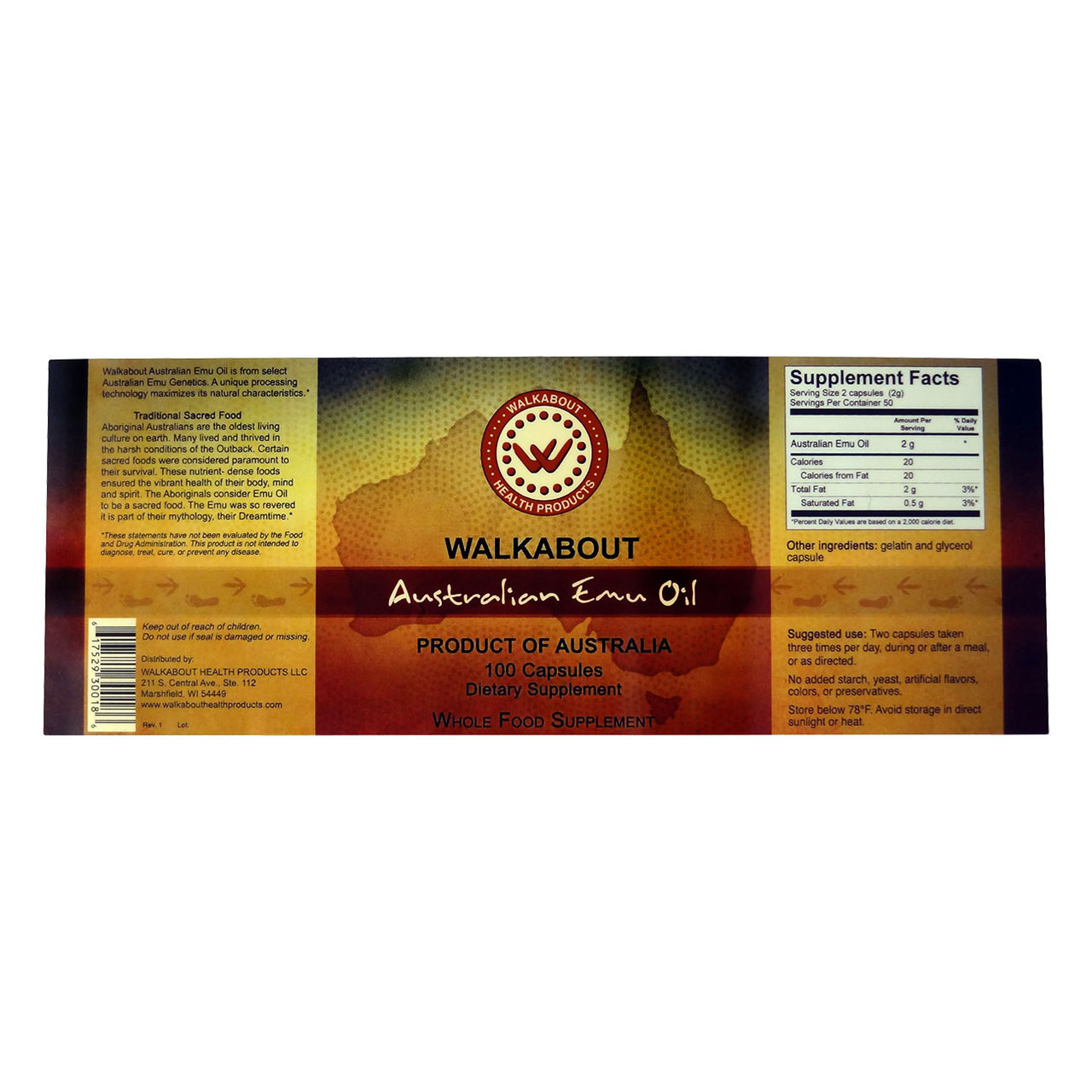 View of entire label of Walkabout 100% Australian Emu Oil Capsules with supplement facts, suggested use and ingredients.