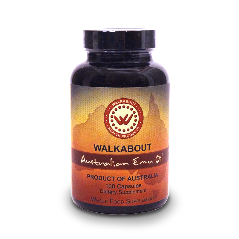 Front view of 100 count bottle of Walkabout 100% Australian Emu Oil Capsules.