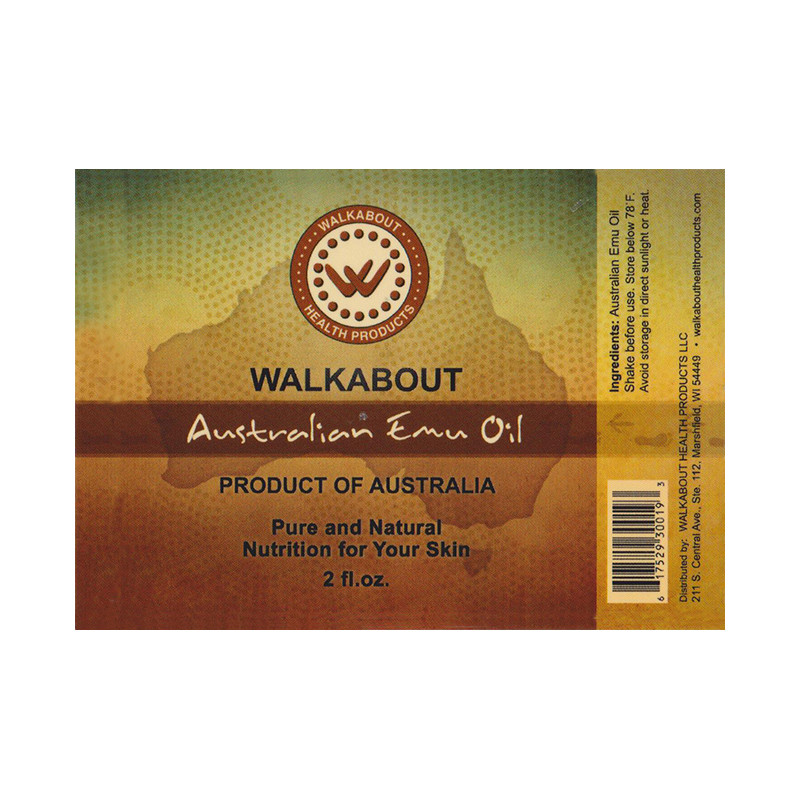 View of full label for a 2oz bottle of Walkabout 100% Australian Emu Oil for topical use.