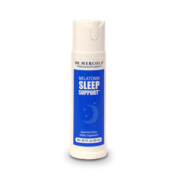 Front view spray bottle of Melatonin Sleep Support Spray by Dr. Mercola.