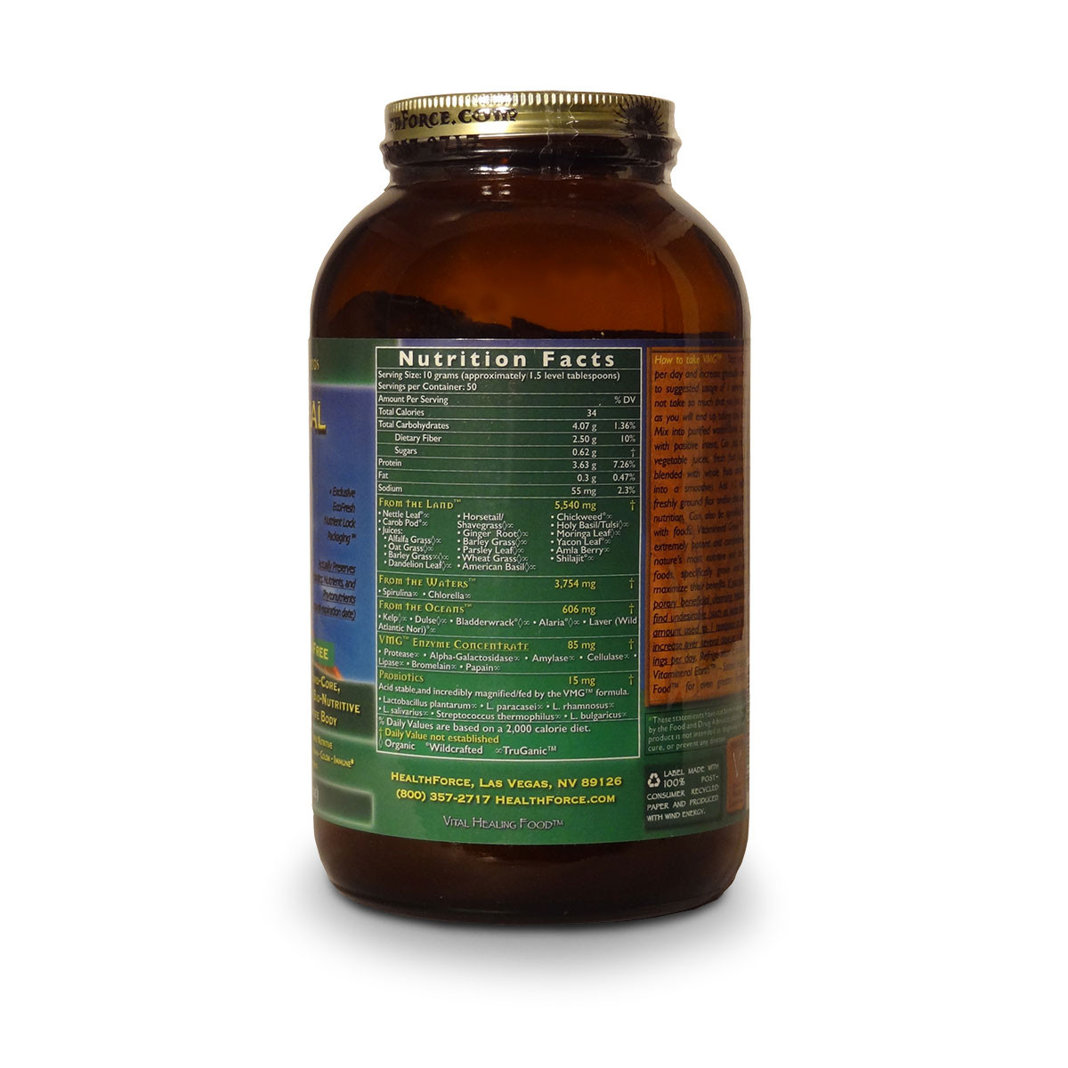 Label view with nutritional facts, ingredients, and serving size for Healthforce Nutritionals Vitamineral Green.