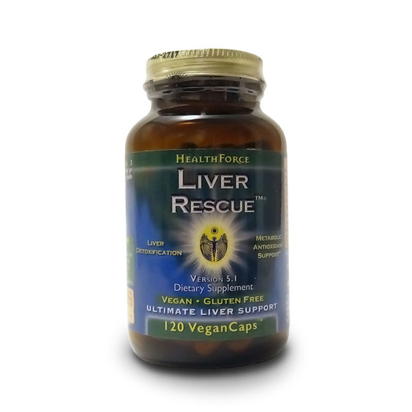 Front view of a bottle of HealthForce Nutritionals Liver Rescue  liver support capsules.