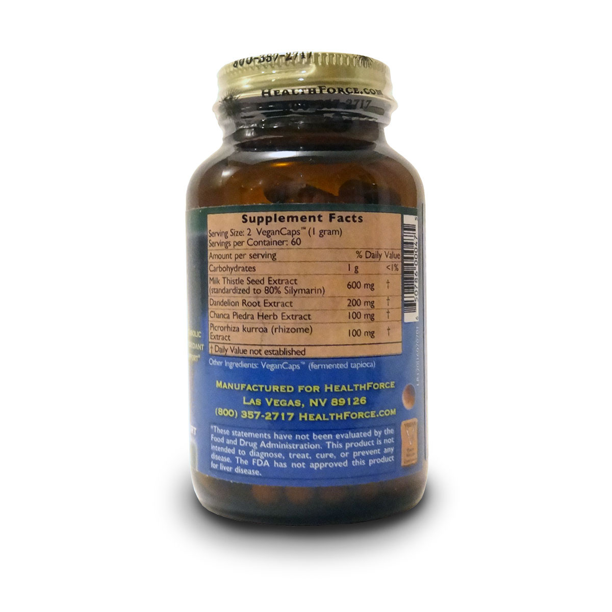 Supplement Facts of a bottle of HealthForce Nutritionals Liver Rescue 5+ liver support capsules.