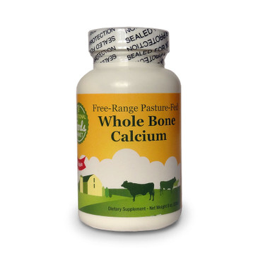 Front view of a bottle of Ramiel Nagel Traditional Foods Free-Range Pasture-Fed Whole Bone Calcium Powder.