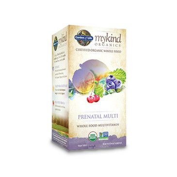 Picture of packaging for Garden of Life mykind Organics Prenatal Multivitamin that is whole food, certified organic and verified non-GMO.