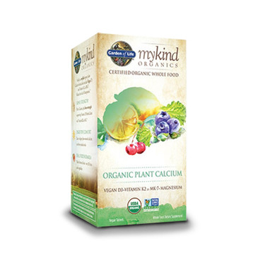 Picture of Garden of Life My Kind Organics Plant Calcium, that is whole food, certified organic, verified non-GMO and Kosher.