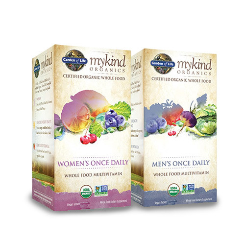 Picture of both the Men's and Women's Formulas of Garden of Life mykind Organics Once Daily Multivitamin that is made with whole food, certified organic and non-GMO verified ingredients.